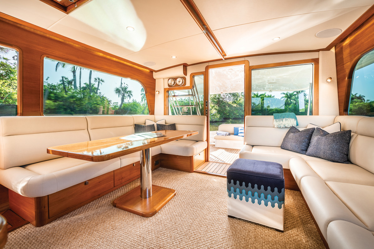 What is a beautiful salon on the surface serves a dual function: All of the furniture you see is bonded to the hull, reducing creaking while underway.