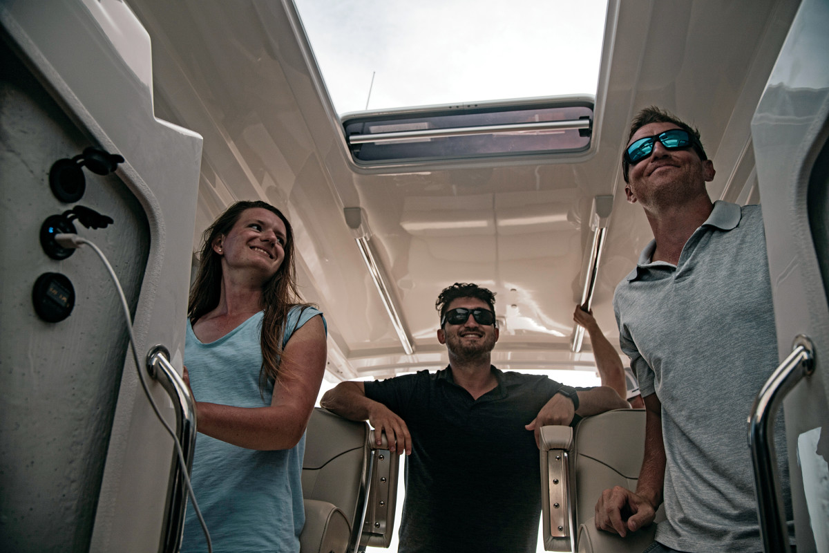 The Protector 330 Targa has a helm worth figthing over; this is a fun and sporty boat to drive.