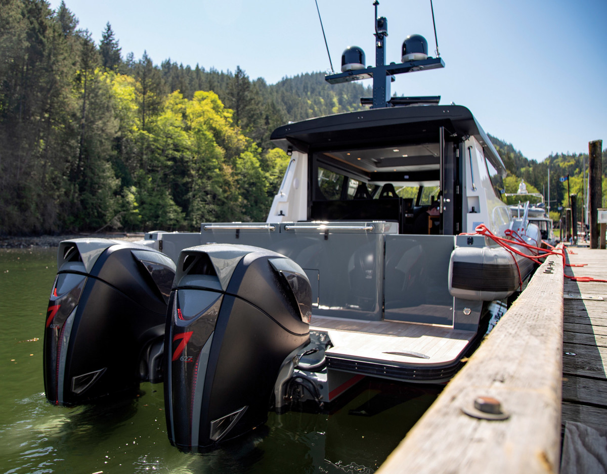 From dock lines to engines, red is the operative color aboard the Tactical T40.