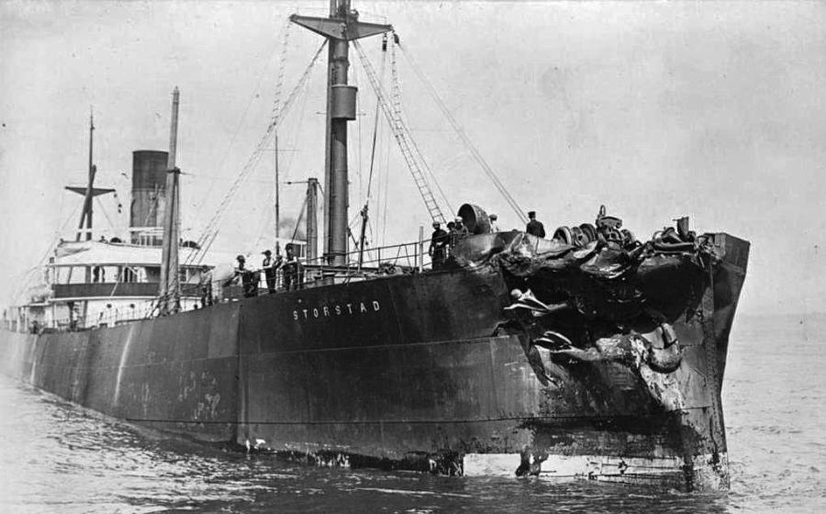 The Storstad's damaged bow following the collision