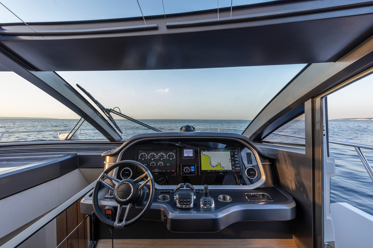 Taking the wheel from the flybridge or lower helm, sightlines are excellent.