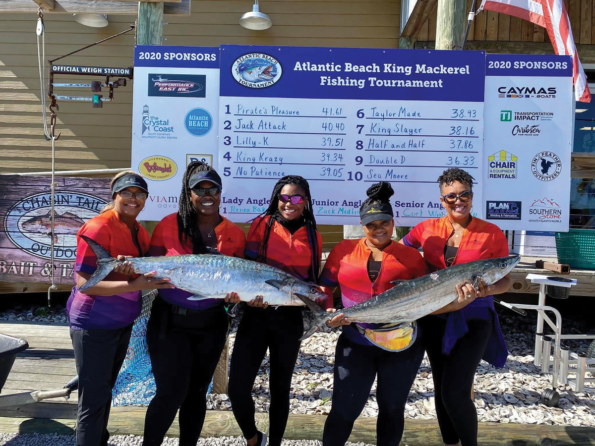 From left: Glenda Turner, Gia Peebles, Bobbiette Palmer, Tiana Davis and Lesleigh Mausi, the five women who compete as the Ebony Anglers.