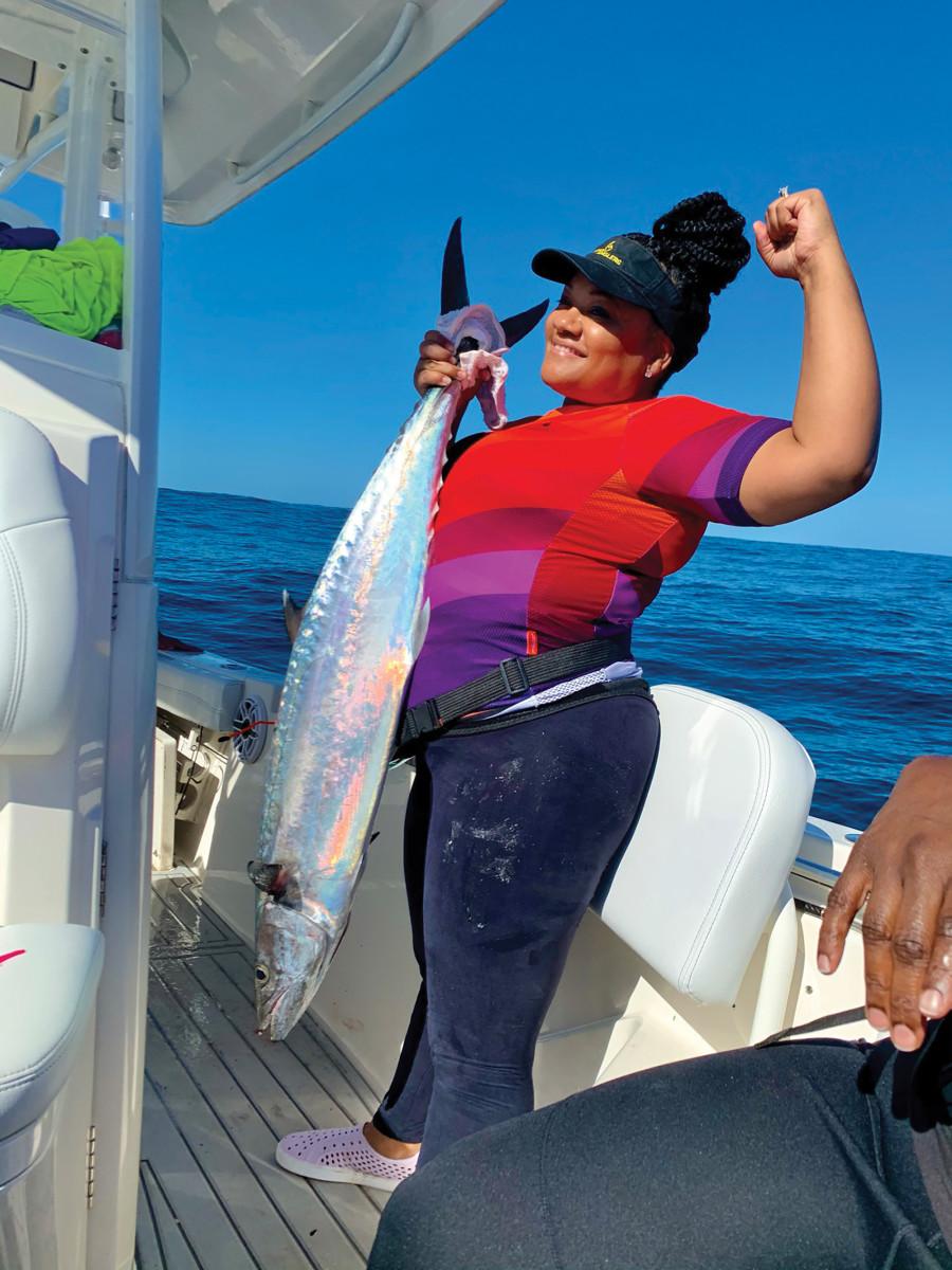 Tiana Davis with a king mackerel