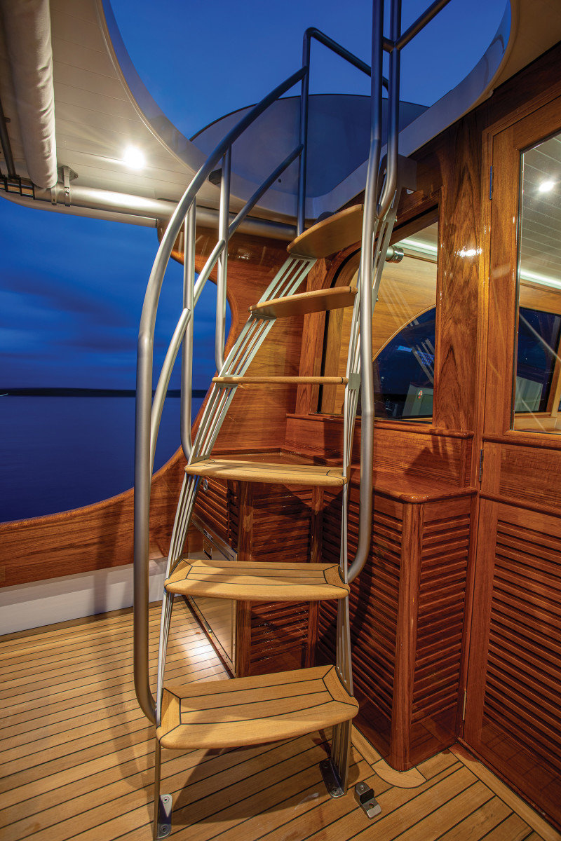 The builder is not bashful in admitting that this boat's brightwork, while stunning, will be a lot of work to maintain.