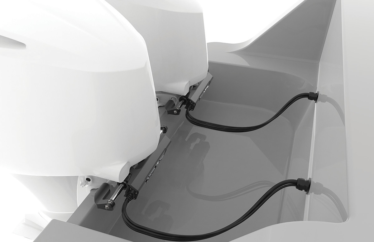 A transom rendering shows off the clean rigging and installation of Dometic's E-actuator.