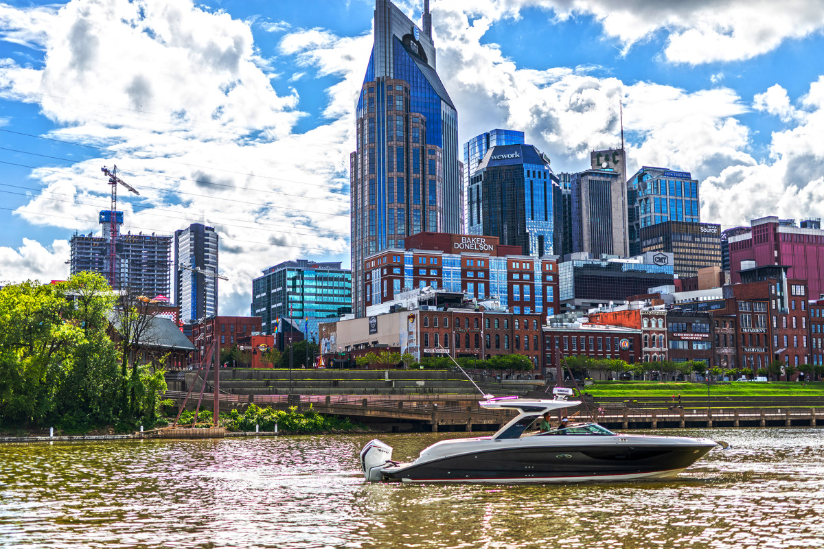 Country Music HQ: The Nashville skyline as seen from the Cumberland River.