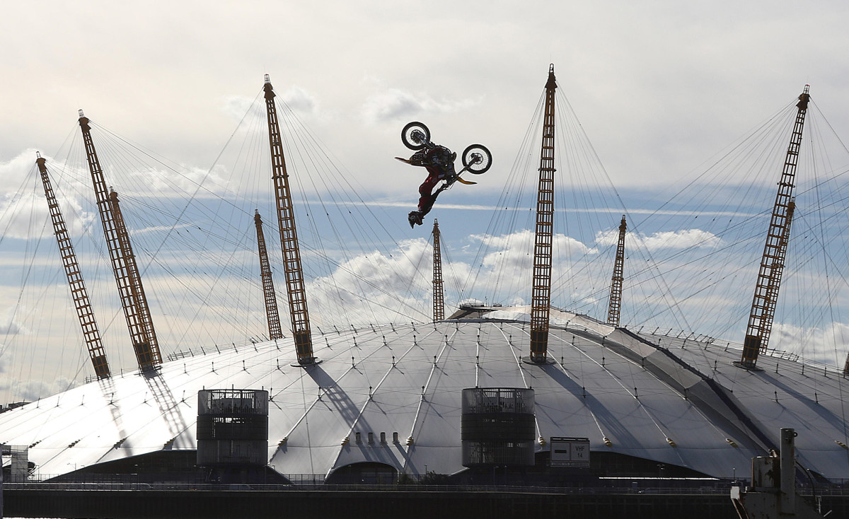 Pastrana didn't just jump from barge to barge over London's river Thames, he did a backflip.