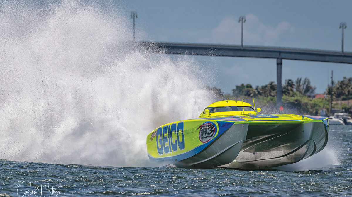 The Miss Geico is one of the premier offshore racing vessels, capable of speeds reaching close to 200 mph.