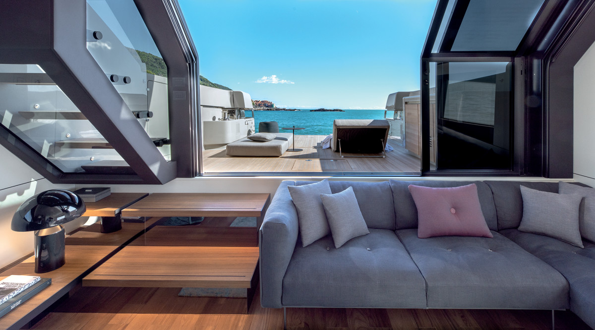 The lower salon offers infinite waterline views from over the