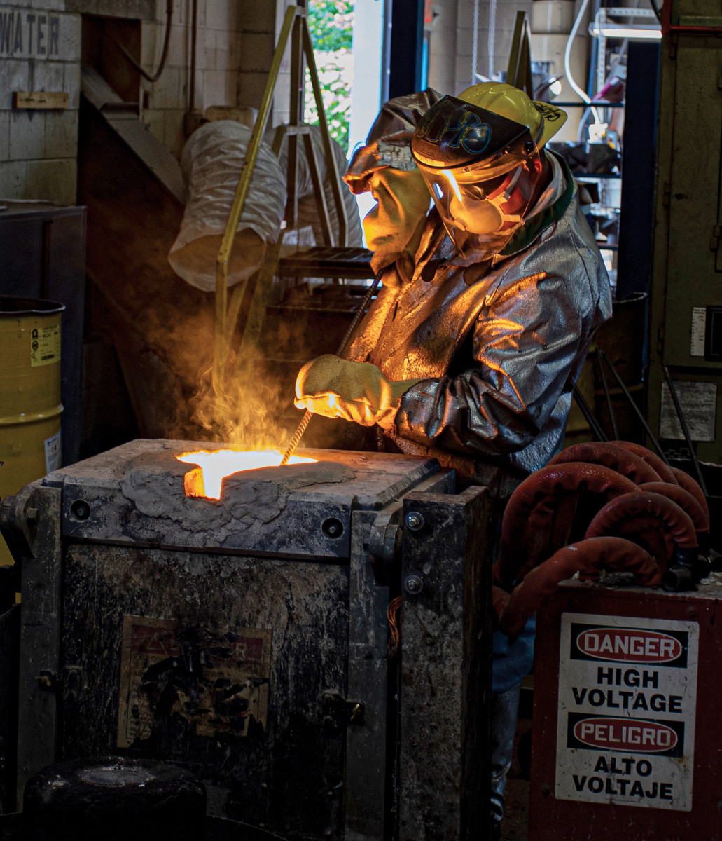 Stainless-steel alloy is melted to nearly 3,000 degrees before pouring.