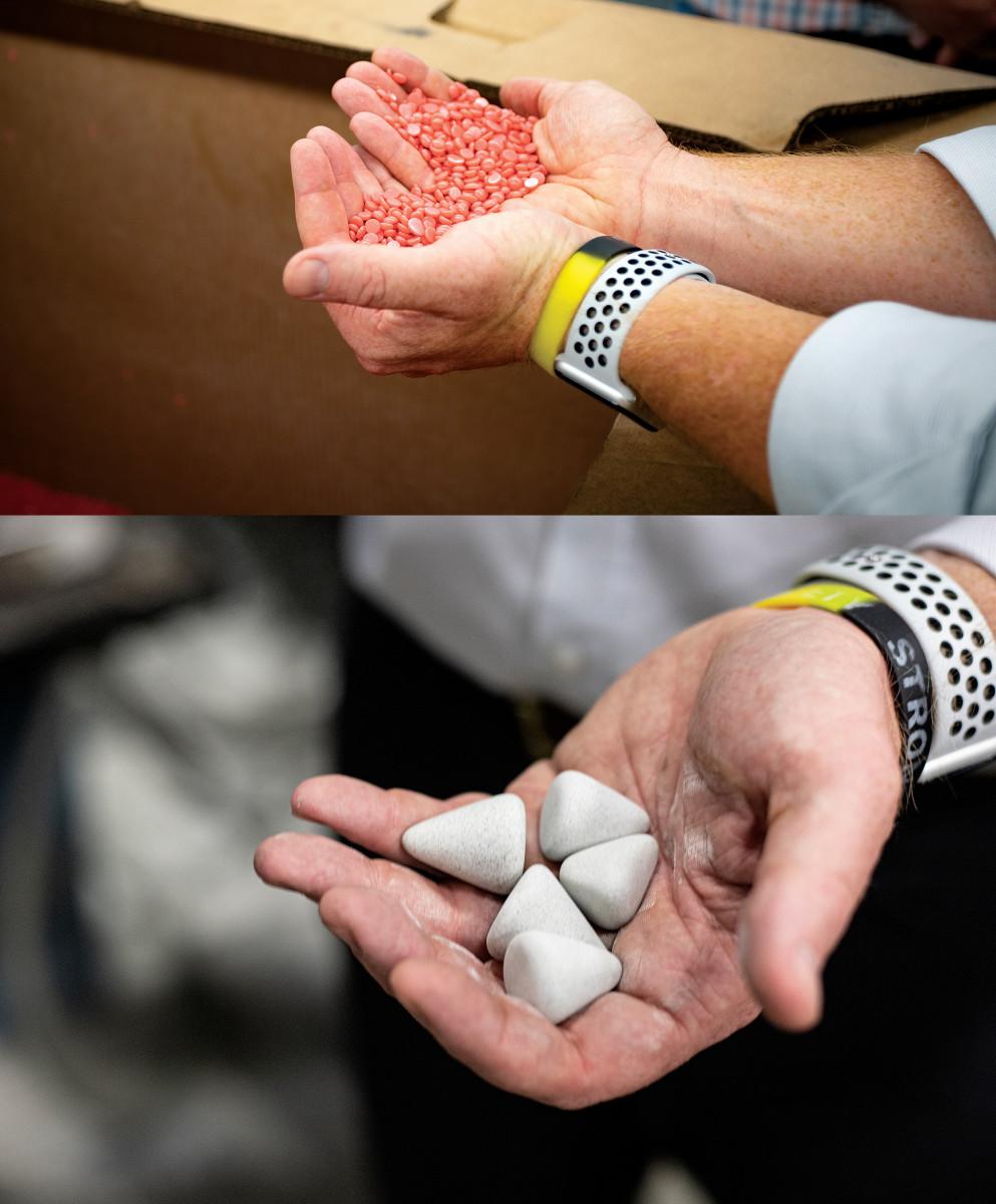 Wax pellets and polishing stones.