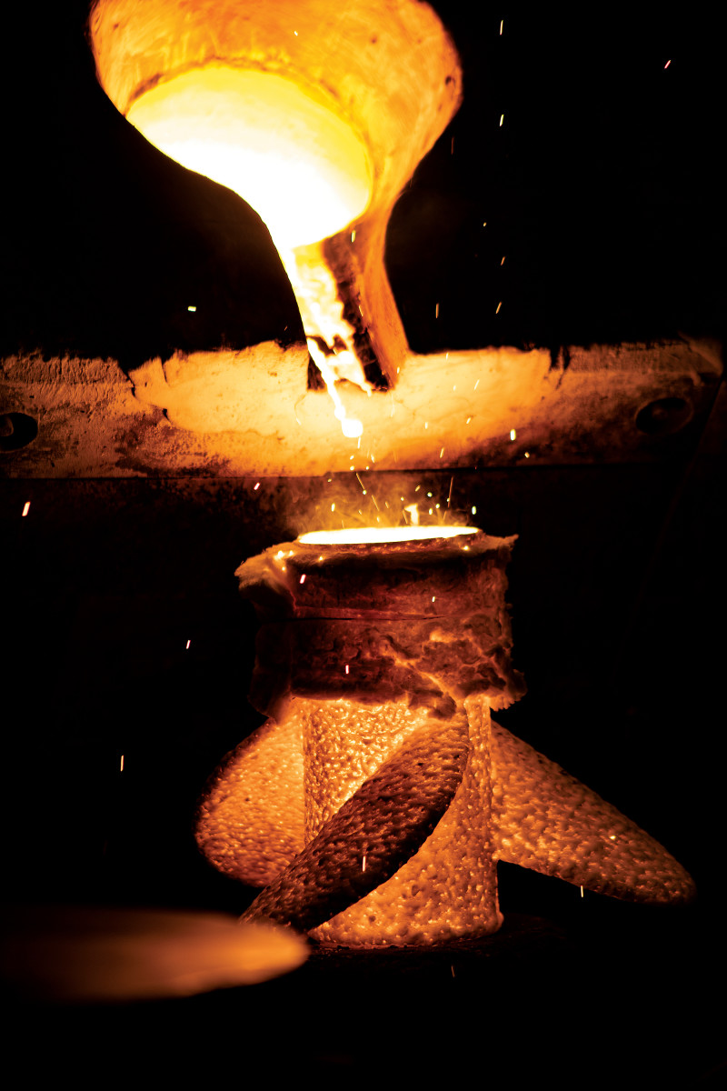 Stainless-steel alloy is poured at 3,000 degrees into a ceramic propeller mold.