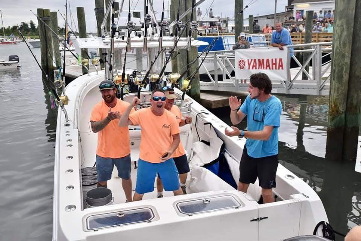 For the first time in the 62-year history of the Big Rock Blue Marlin Tournament, an outboard-powered boat won first place.