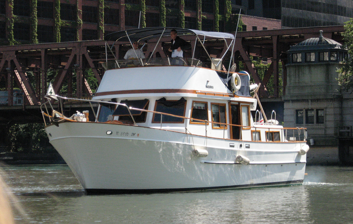 The 38-foot 1980 Marine Trader trawler named Mazurka