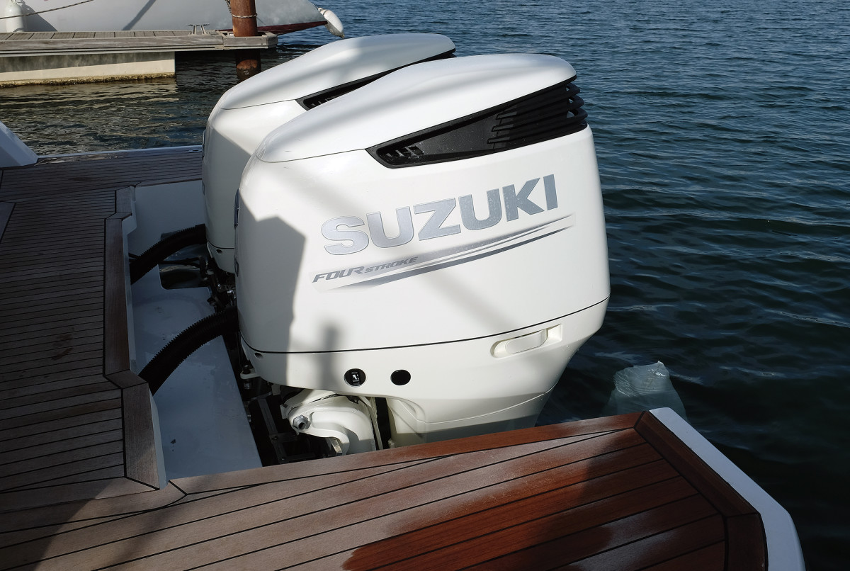 Our test boat had 300-hp Suzukis, although Mercury and Yamaha are available.
