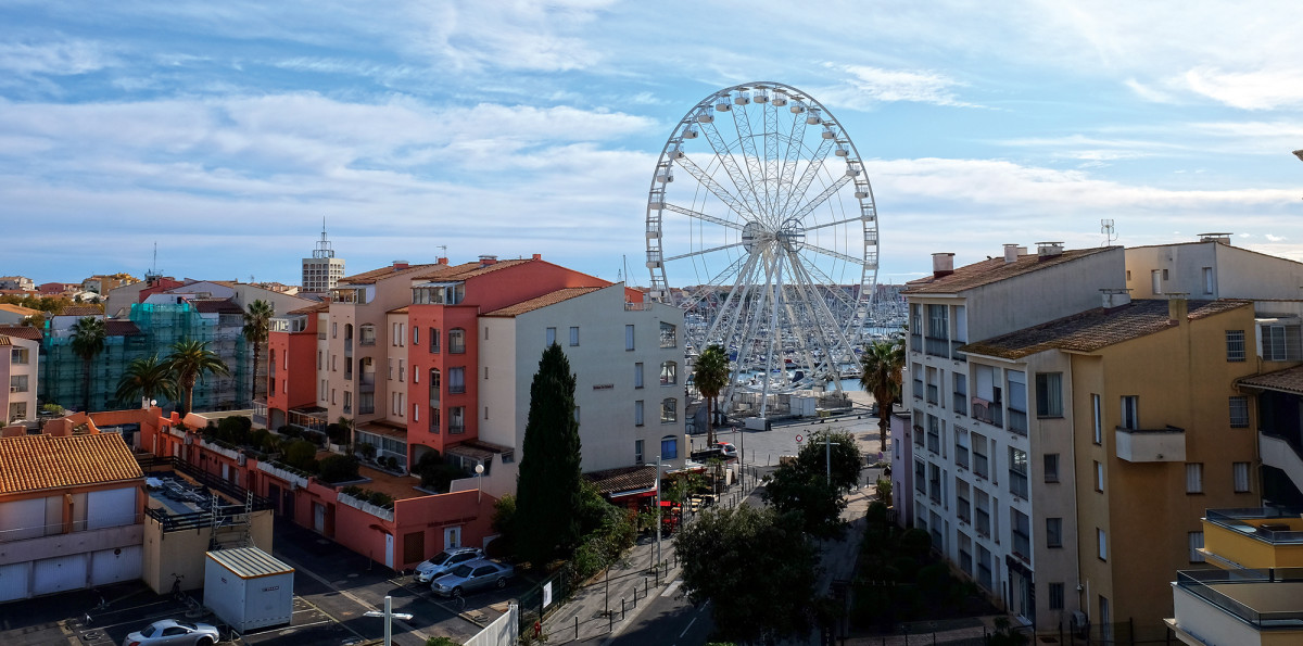 The marina resort of Cap d'Agde, complete with a Ferris wheel.