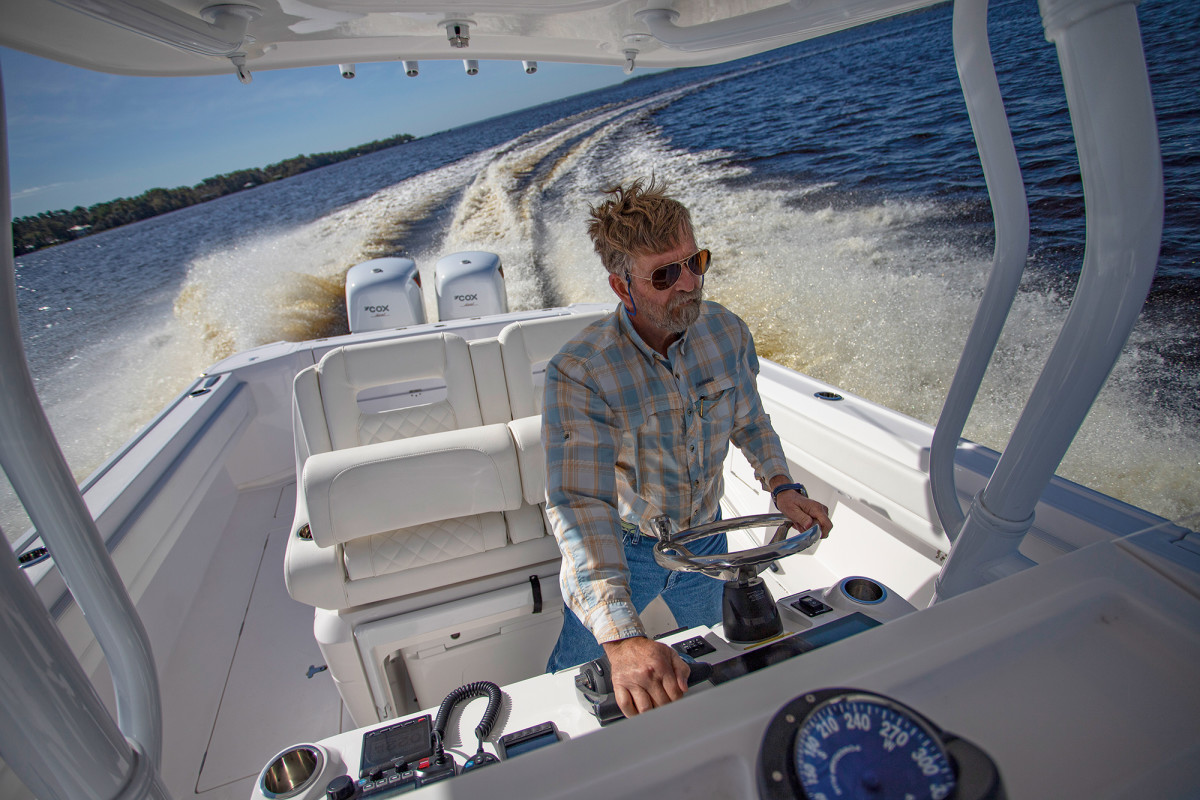 Maybe they're slightly larger and heavier, but otherwise the diesel-powered Cox CXO300s were indistinguishable from gasoline-fired outboards in terms of driving experience.