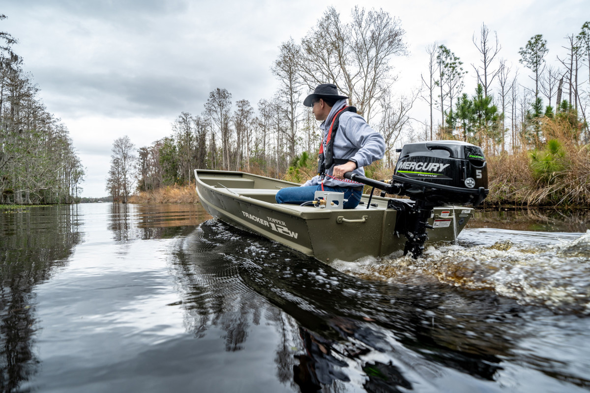 Mercury Marine's 5-hp propane-powered outboard is a lean, clean, green little machine, with decent range.