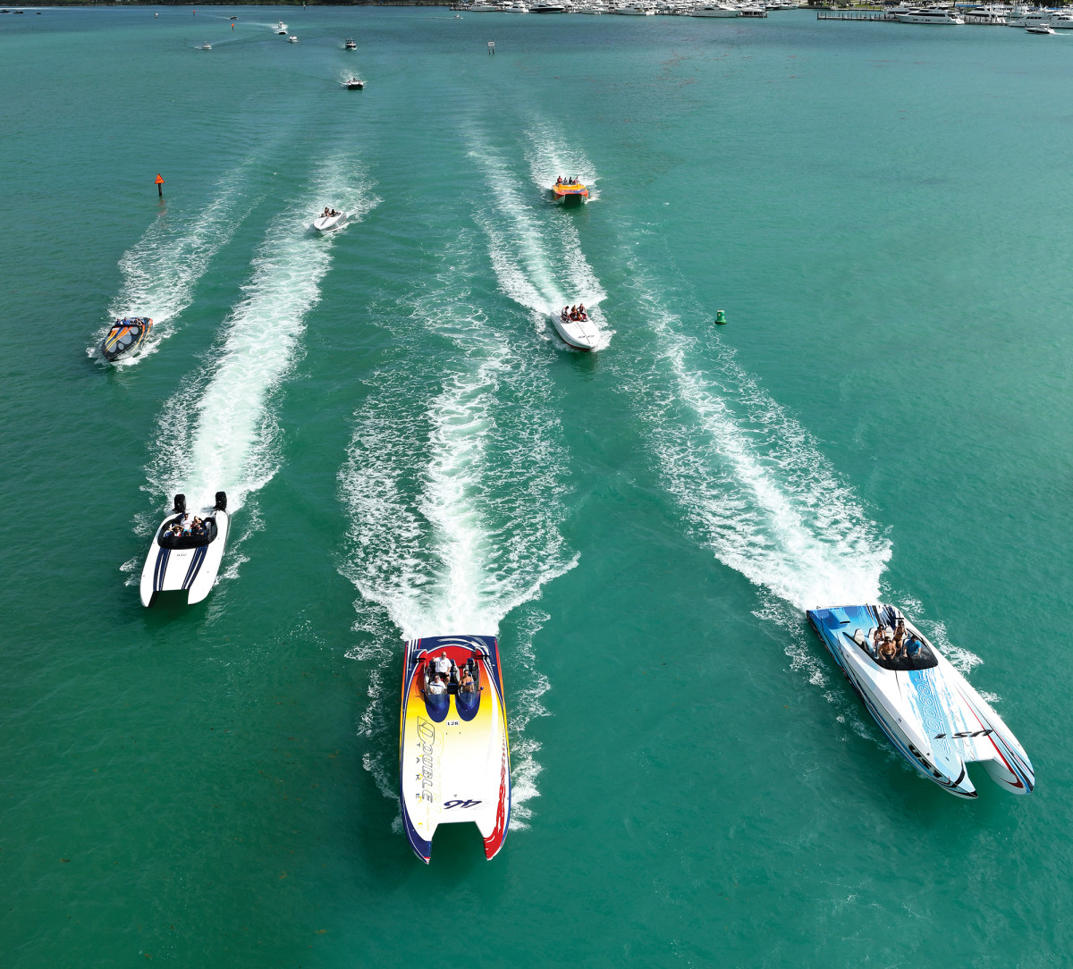 The FPC fleet on the move. No-wake zone? No problem.