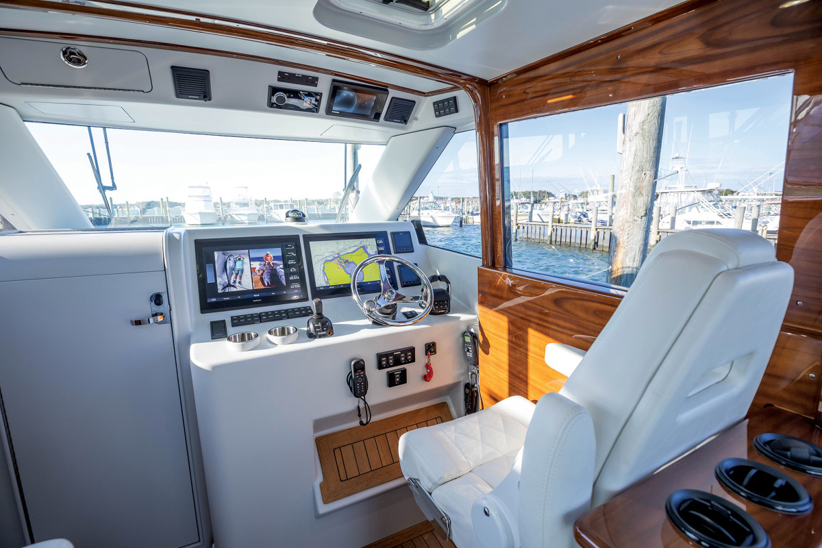 The air-conditioned pilothouse is tricked out with the latest Garmin electronics and Yamaha Helm Master.