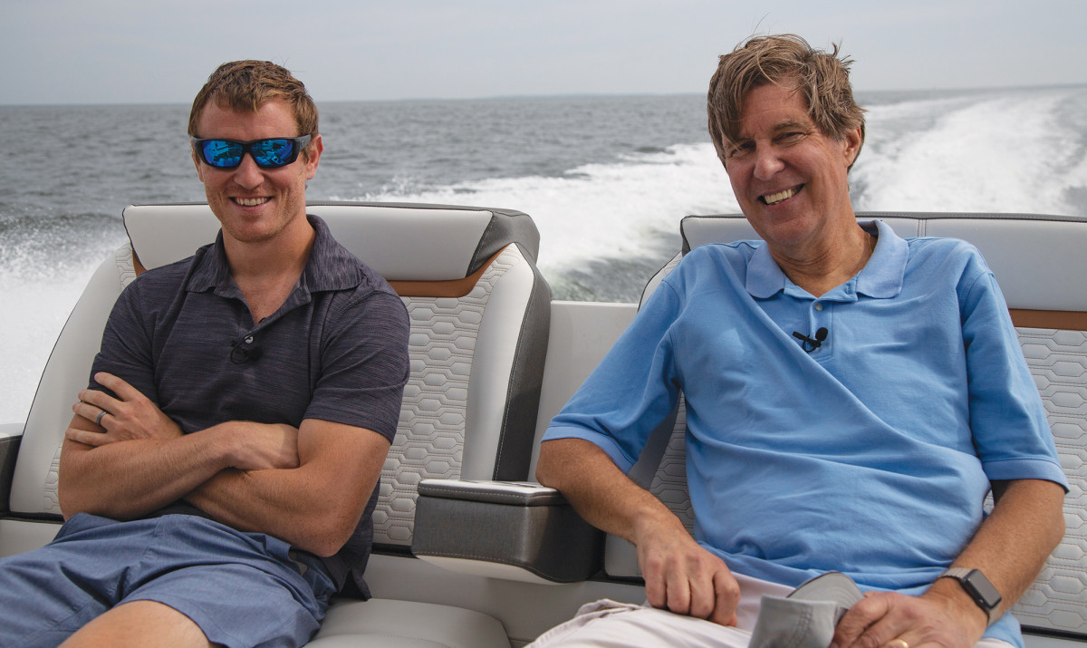 The author and his father-in-law escape diaper duty for a fast ride on the new 43 LE.