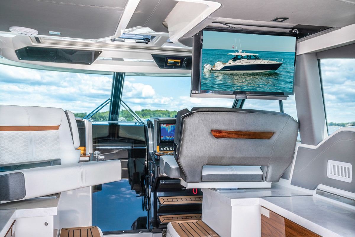 Swivel seating, amenities everywhere and a fold-down TV speak to the entertaining focus of the newest Tiara.