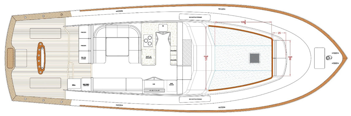 55 Walkaround Flybridge - Standard Galley Configuration and Optional Cockpit Grill