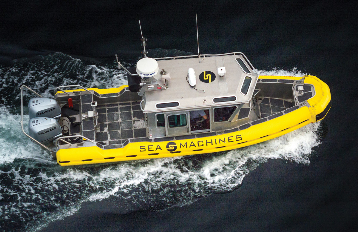 A SAFE Boat with Sea Machine's autonomous technology. Thanks to numerous sensors already in place, modern recreational boats are good candidates for autonomy.