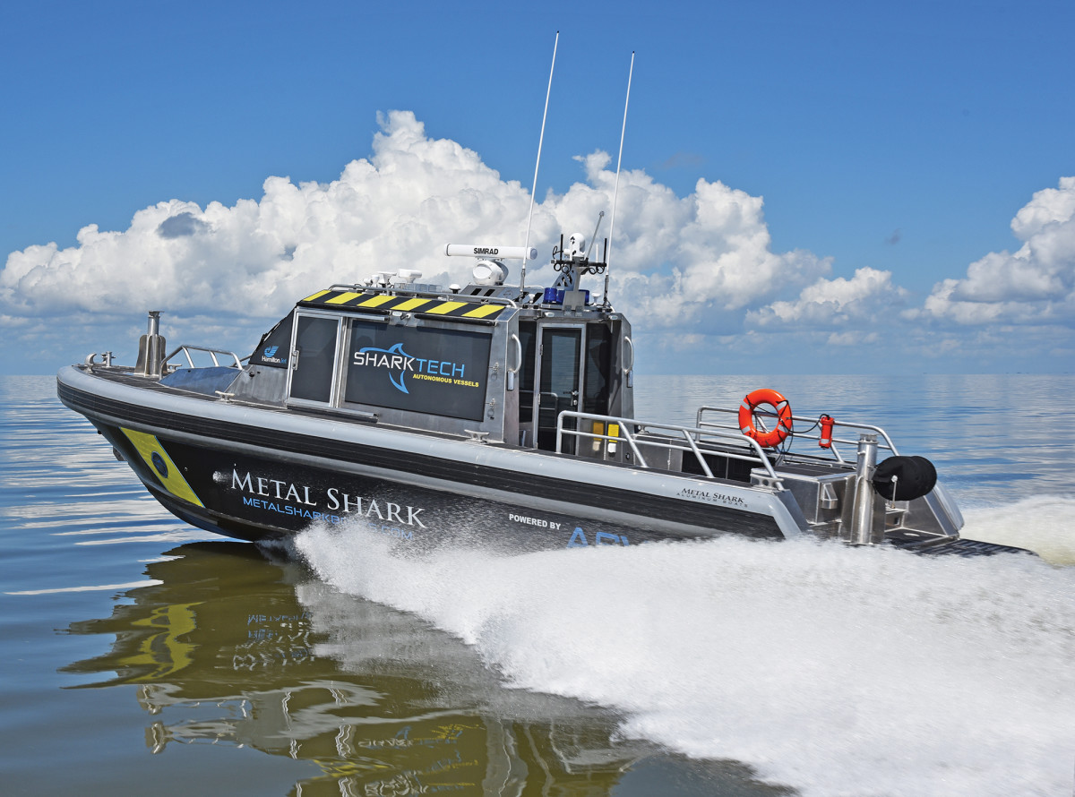 Metal Shark builds recreational, military and commercial vessels. The division that specializes in autonomous vessels is called SharkTech.