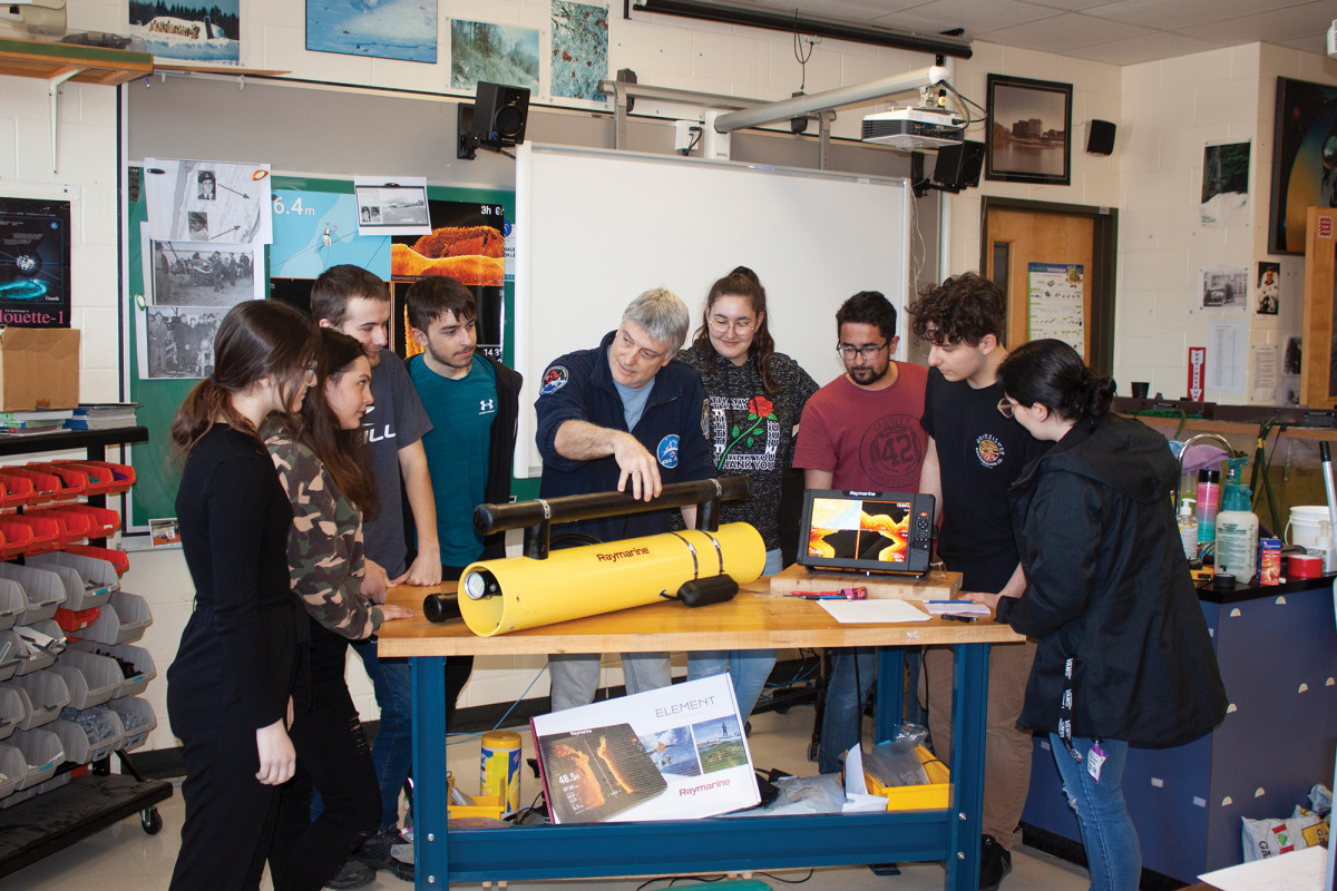 """The class used the winter months to build what they call a """"tow fish"""" device to obtain better sonar imagery and even video."""