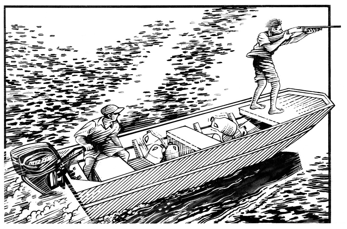 Jon boat Shotgunning Art
