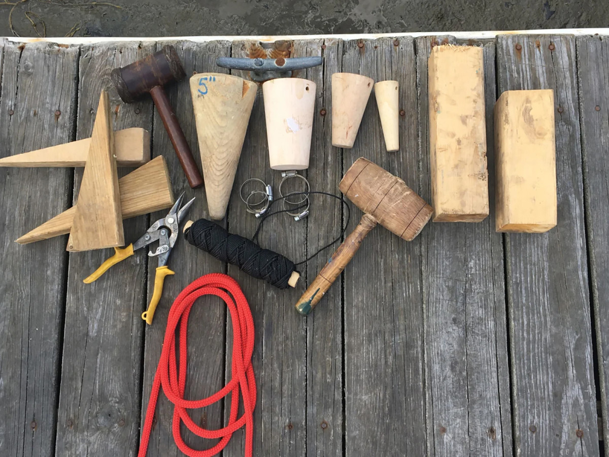 An assortment of wedges, tapered  damage-control plugs and pieces of 4-by-4, along with a mallet for seating, can provide options to control the ingress of water. Hose clamps, twine and other materials are equally