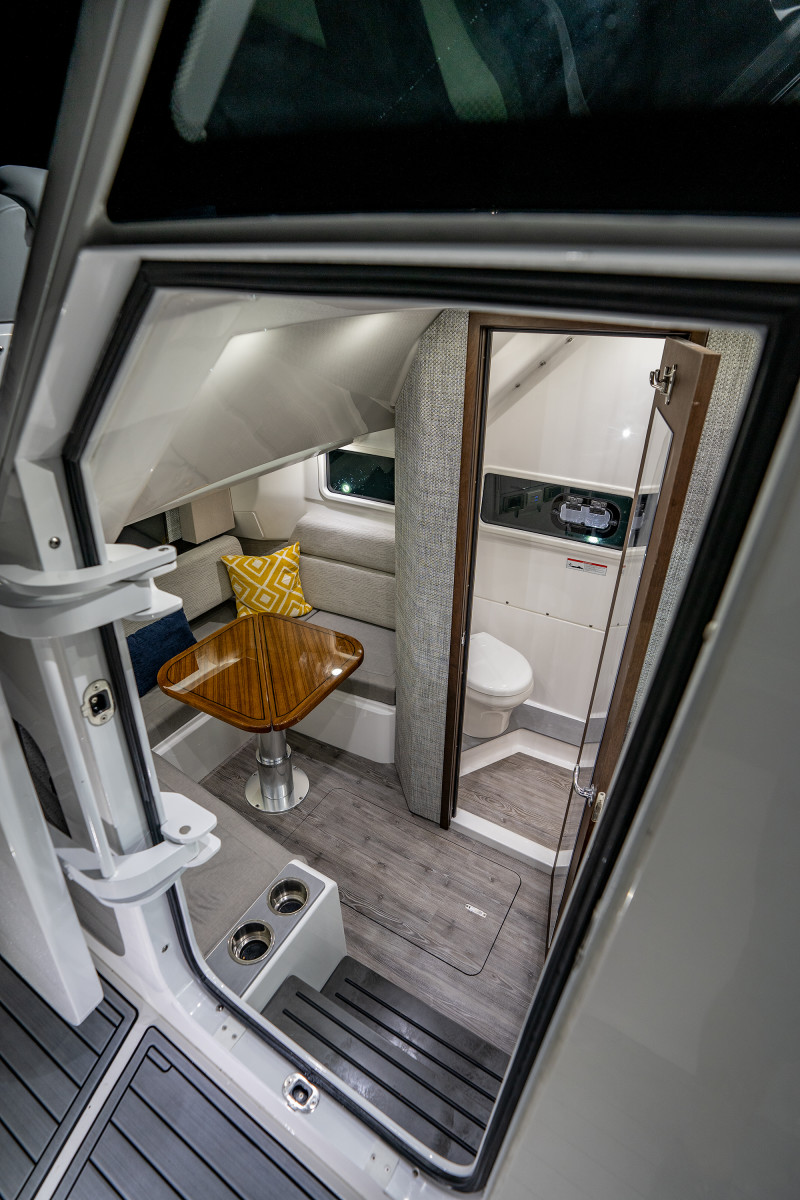 Down below, the dinette can convert to a berth–our 6-foot, 4-inch captain lived here for a month and a half.